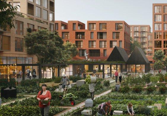 URBAN FARMING: Illustrasjonsbilde av boligprosjektet 9.4 med felleshage og -hus i midten.
