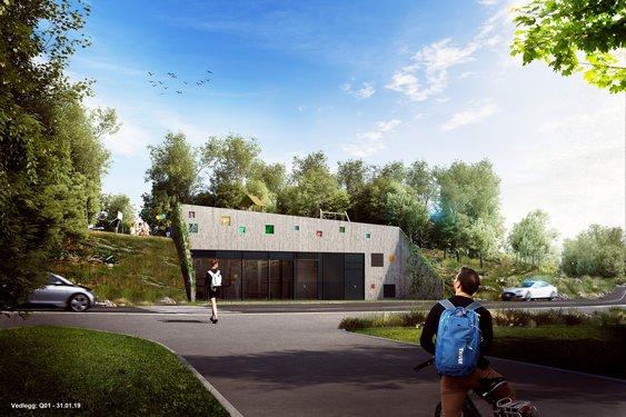 Energisentralen på Vestre Billingstad bygges inn i terrenget sentralt i området, og utformes med en fasade som gjør at den blir en miljøfaktor i dobbelt forstand.