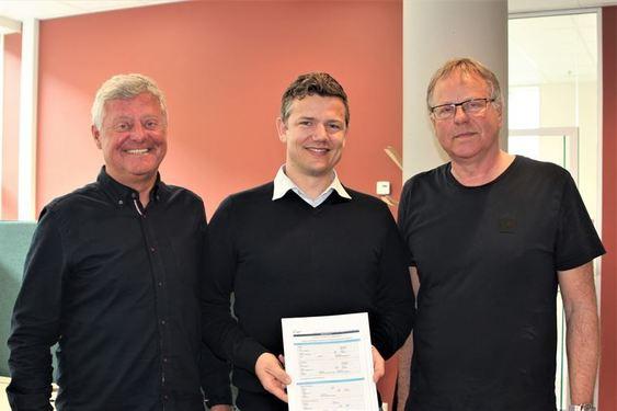 Fv: prosjektsjef Bjørn Remen fra Sykehusbygg HF, Distriktsleder i NCC, Lars Petter Gamlem og fungerende eiendomssjef ved St.Olavs Kjell Ivar Svaan.